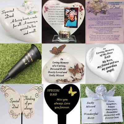 Dad Fathers Day Memorial Plaque Frame Stake Vase Ornament Grave Remembrance Item