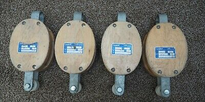 "4 Used CAMPBELL 3001K, 6"" Single WOOD WHEEL PULLEY - 1800 lbs - 7205635"
