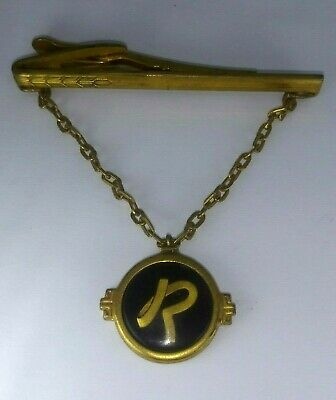 """Hickok USA Letter Script Initial """"R"""" on Chain Vintage Tie Bar Clip aa-1e"""