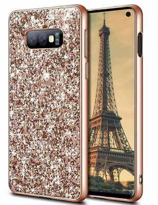 Rose Gold Samsung S10e Bling Glitter Sparkle Case Shockproof Bumper Slim Cover