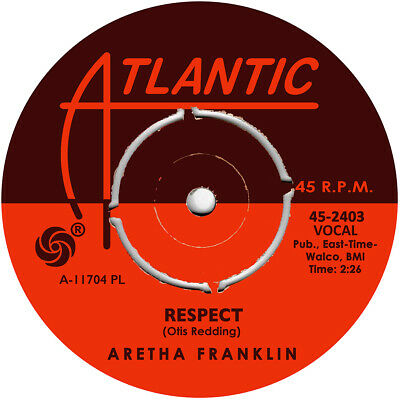 Aretha Franklin. Respect. Repro vinyl record label sticker. Atlantic Soul.