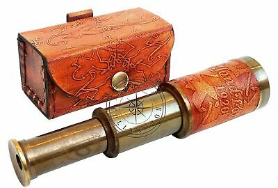 Antique Dollond London Telescope Nautical Pocket Gift With Leather Case