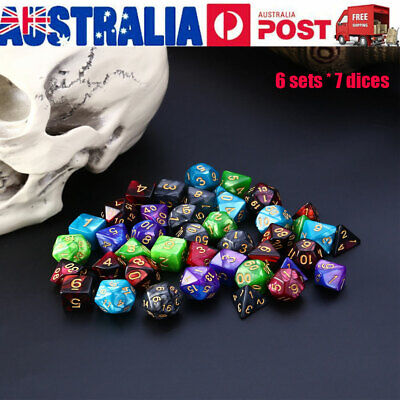 42pcs Acrylic Polyhedral Dice For Dungeons And Dragons TRPG Board Game Supplies