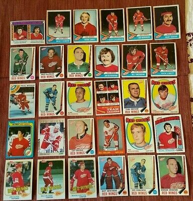 30 Card Lot 1969-91 Detroit Red Wings Hockey Cards Crozier Mahovlich Racine AUTO