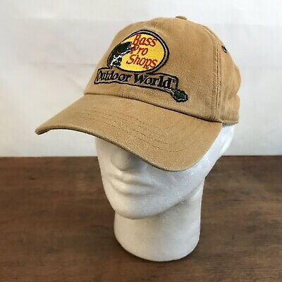 4c6a338a55519 Bass Pro Shops Outdoor World Tan Cotton Adjustable Baseball Cap Hat CH21