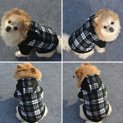 Plaid Pet Dogs Hoodie Coat Jacket Puppy Cat Winter Warm Hooded Costume Apparel G