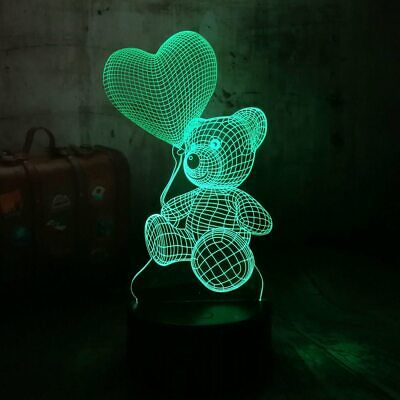 Mothers Day Gift for Mom Women Girls Ladies 3D Touch Night Light Teddy Bear 7