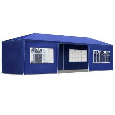 Blue 3x9M Pop Up Outdoor Gazebo Folding Tent Market Party Marquee Shade