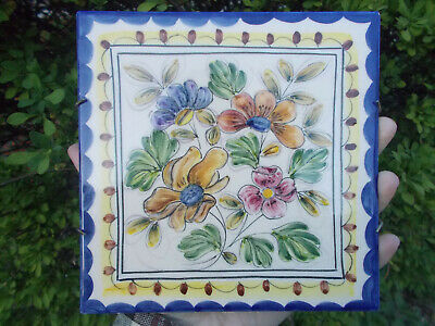 "AZUPAL POMBAL Hand Painted multi Floral Tile 4.75"" Home Decor Trivet wall hanger"