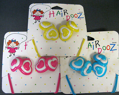 Vtg New 1988 You Choose Colorful Hearts Hair Ties Ponytail Holders Hair Dooz Nos