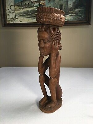"""African Carving 18"""" Sitting Man With Ashtray Basket Top Over 5 LBS Dark Wood"""