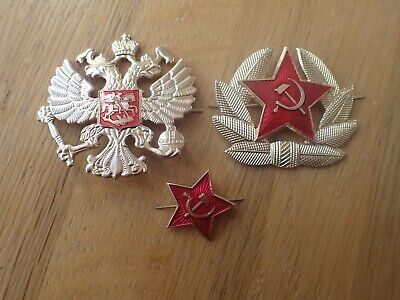 Russian USSR Military Army Communist Party & Imperial Army  Hat Badges