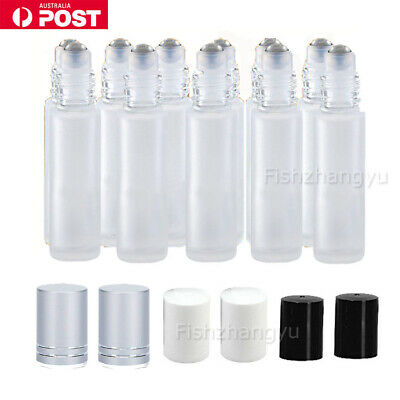 24X 10ml Roller Bottles Frosted THICK Glass Steel Roll on Ball Essential Oils