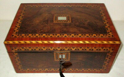BEAUTIFUL VICTORIAN FIGURED WALNUT & BANDED WRITING SLOPE with key