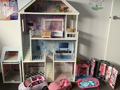 3 Storey Barbie Dollhouse With Dolls, Cars And Accessories.