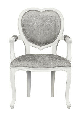 French Louis MEDEE Armchair  white   french heart   crushed silver velvet