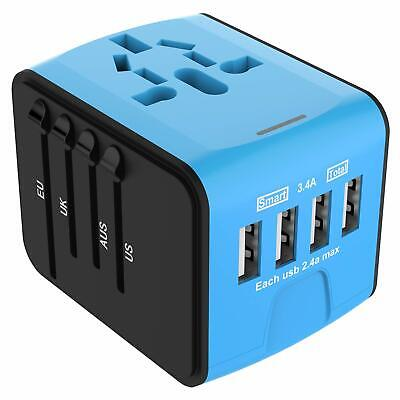 JOLLYFIT International Universal Travel Adapter 4 USB 2.4A Charger AC - Blue