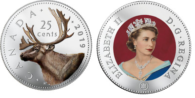 2019 Canadian legal Tender 25 Cents Coloured Caribou Coin