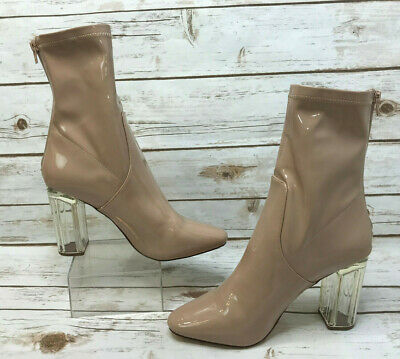 586cfa0fd67 Liliana Womens 10 Nude Beige Lucite Clear Block Chunky Heeled Ankle Boots  Shoes