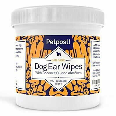 100 Pet Dog Ear Cleaning Wipes Soft Cotton Mites Infection Care Remedy Aloe Vera
