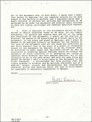 Bette Davis - Contract Signed 11/21/1981