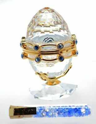 Swarovski Crystal Egg with Garland and cylinder of blue cyrstals Retired #253442