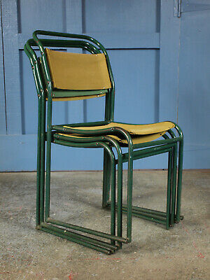 Set of 3 Mid Century Vintage Industrial Retro 1960s Metal Stacking Dining Chairs