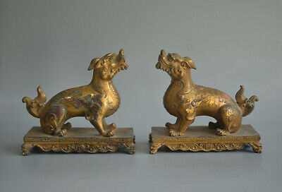 Superb Chinese Ancient Gold Plated Bronze Pair Of Kylin Statues Talisman 6.69""