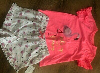 Primark Girls Flamingo Pjs Nightwear Pyjamas Shorts And Top Bnwt All Ages