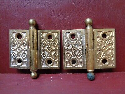 "2 Antique Cast Bronze 1 1/2"" X 2"" Shutter Cabinet Door Lift Off Hinges R Hand"
