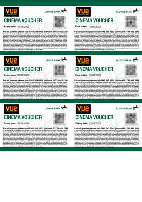 6 x VUE Cinema Tickets Approx £70+ value - expire 03/05/2020