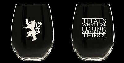 Game of Thrones- 2 stemless wine glasses Thats What I Do I Drink & know things