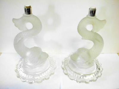 2 antike Kerzenhalter Fussteile -Fische / 2 antique candelabra glass bases-fish