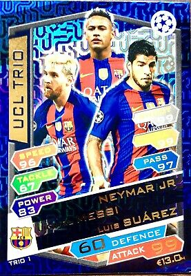 Match Attax Uefa  Champions League  16/17 Trio Card Barcelona Mint
