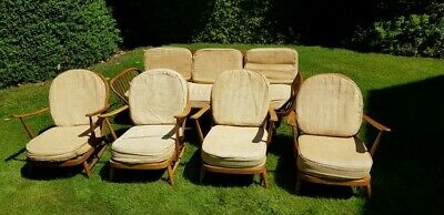 Ercol trendy studio couch, surfboard back plus 4 chairs -Renovation project.