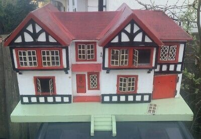 Vintage Triang Tri Ang Large Dolls House Antique Toy Garage Wood 5 Bed Rooms