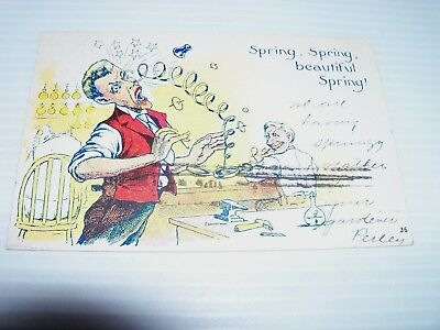 100 + year old postcard w/ 1 cent stamp 1907 Rare Spring Spring Beautiful Spring