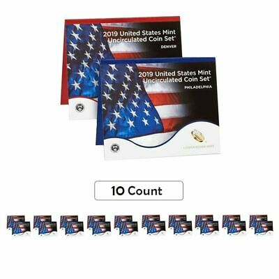 10 x 2019 US Mint Annual Uncirculated Coin Set - Without W Cent