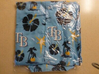 Tampa Bay Rays Tropical Hawaiian Style Front Shirt Large Size (Sealed)