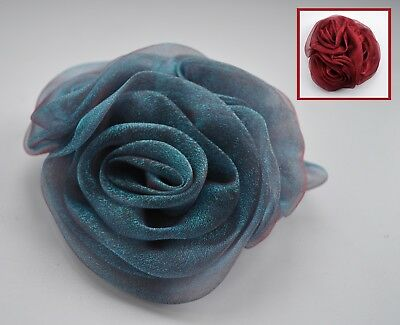 Teal blue or burgundy/wine organza/chiffon rose fascinator hair clip/corsage. UK