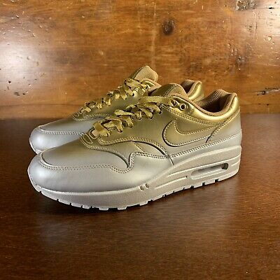 promo code 4df39 abf13 Nike Womens Air Max 1 Lux Liquid Metal Silver Gold 917691-700 Size 9-