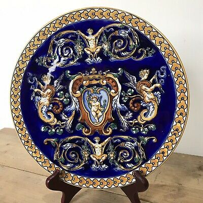 Antique French Renaissance Style Blue Gien Hand Painted  Plate