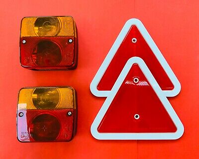RADEX 4 Function Trailer Light Set Rear Lamps & Red/White Triangle Reflectors