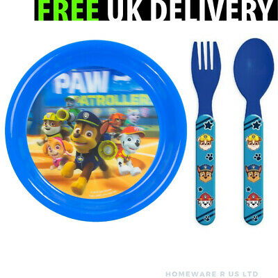 Boys Childrens Paw Patrol Cutlery Set Dinner Plates Forks Spoons Blue Plastic