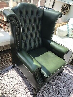 Chesterfield Queen Anne Wingback Chair Antique Green