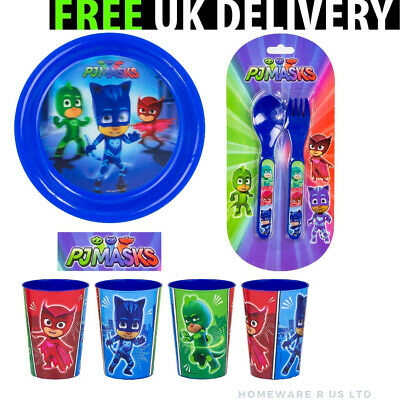 Boys Pj Masks Cutlery Set  Dinner Plates 4 Beakers 1 Forks 1 Spoons Blue Plastic