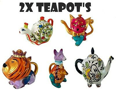 2x Hand Painted Tea pots teapot Novelty gift birthday collectable ceramic animal