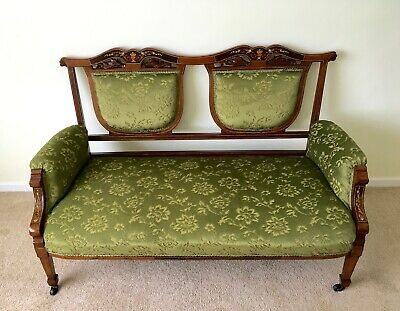 Victorian Salon Sofa, Small French Style Elegant Sofa, Antique Green Floral Sofa