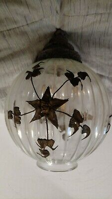 Vintage light fixture  Glass Ceiling  globe  architectural salvage