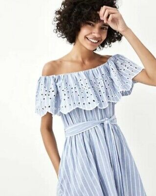 c9305f62 Zara Embroidered Off The Shoulder Jumpsuit Dress Size Large Bnwt🦋🦋